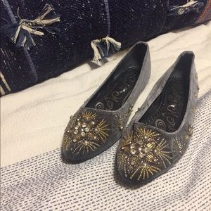 suede flats with beading, excellent condition